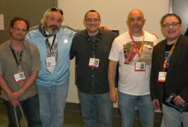 Blu-ray producers panelists (L-R) Dr. Adam Jahnke, Todd Doogan, Bill Hunt, Cliff Stephenson and George Feltenstein.