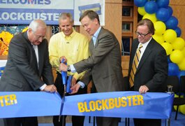 From left, Dish Network CEO Clayton, chairman Ergen, Gov. Hickenlooper and Blockbuster president Kelly