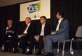 The International Consumer Electronics Show hosted a studio panel Jan. 9. (L-R): Bishop, Dunn, Gewecke and Strickland.