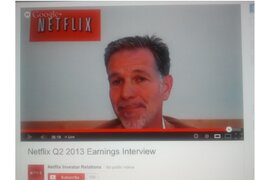 Netflix CEO Reed Hastings participates in live video webcast