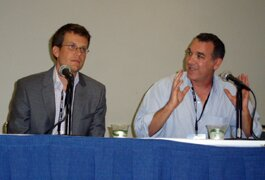 (L-R): Author and video blogger John Green and Larry Shapiro of Fullscreen and VidCon 2013.