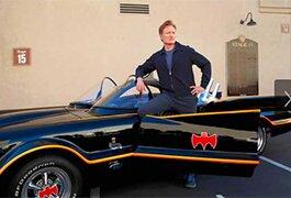 Conan O'Brien with the 1960s Batmobile
