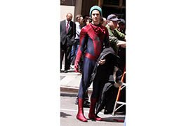 Andrew Garfield on set in Spider-Man outfit
