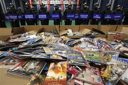 Pirated DVDs confiscated by Chinese authorities in 2011