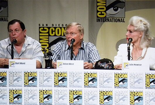 (L-R): Burt Ward, Adam West and Julie Newmar