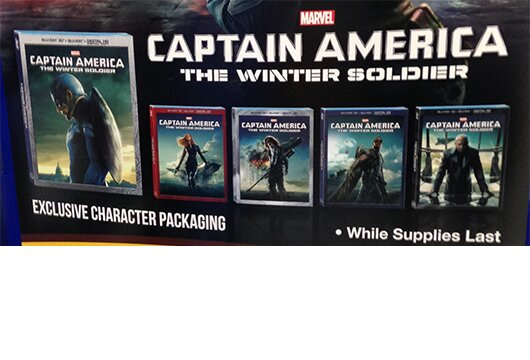 Display touting Walmart's 'Captain America' character disc covers