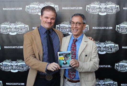 (L-R): Actor Evan Jones and screenwriter Nicholas Meyer celebrating 'Houdini' at the Magic Castle