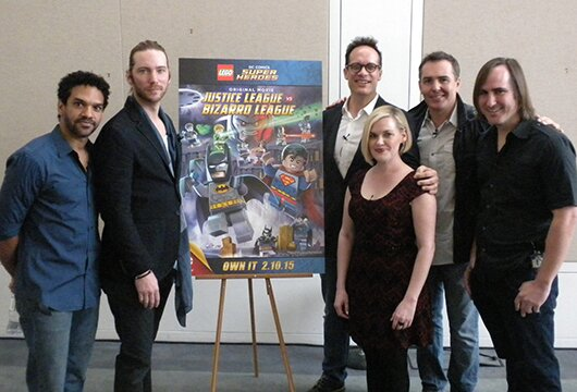 (L-R): Voice actors Khary Payton, Troy Baker, Diedrich Bader, Kari Wahlgren, Nolan North and screenwriter Michael Jelenic.