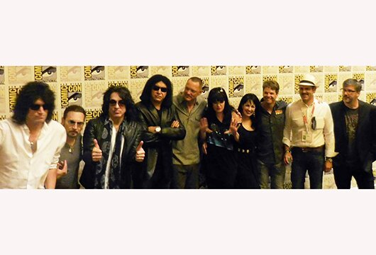 (L-R): KISS with Matthew Lillard, Pauley Perrette, Grey Griffin, Kevin Shinick, Spike Brandt and Tony Cervone
