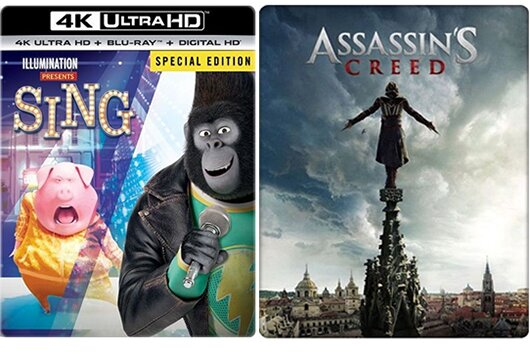 Best Buy's 'Sing' and 'Assassin's Creed' Steelbook 4K Blu-rays